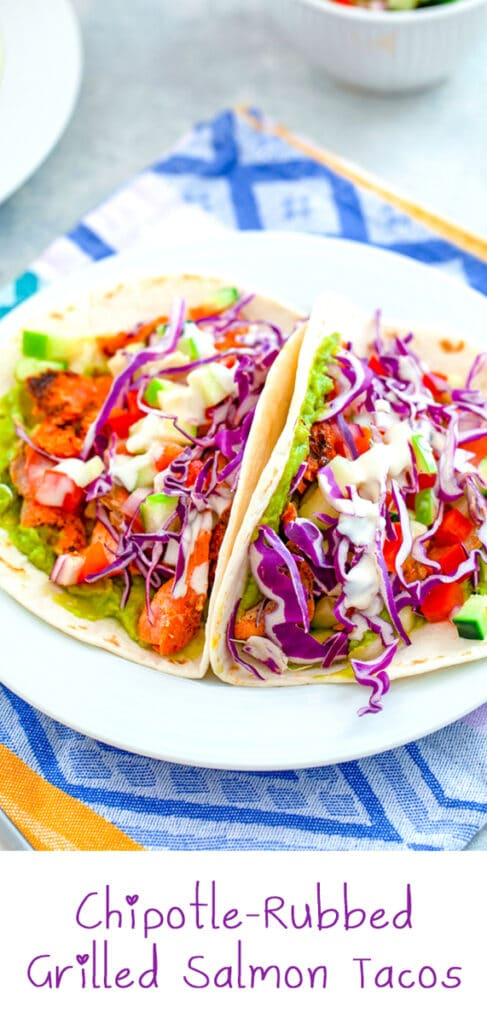 Chipotle-Rubbed Grilled Salmon Tacos -- An easy weeknight dinner that's also fit for company? These Chipotle-Rubbed Grilled Salmon Tacos are delicious for any occasion. Plus, the apple cucumber salsa adds the perfect crunch!   wearenotmartha.com #salmon #tacos #salmontacos #grilledsalmon #healthydinners