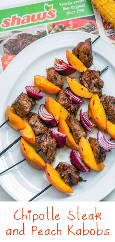 Chipotle Steak and Peach Kabobs -- With a simple (but incredibly flavorful!) marinade and just 10 minutes on the grill, these Chipotle Steak and Peach Kabobs will become your new favorite summer meal! They're perfect for a low-key dinner at home or for outdoor entertaining with friends | wearenotmartha.com #sirloin #kabobs #grillingrecipes #steakkabobs #peaches