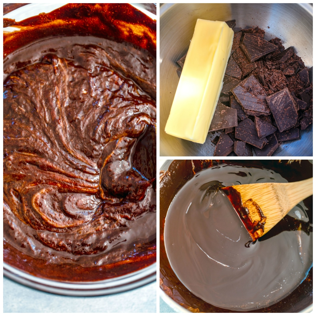 Collage showing the process for making chocolate batter, including melting chocolate and butter in a saucepan, the chocolate smoothly melted, and the chocolate mixed into the base batter