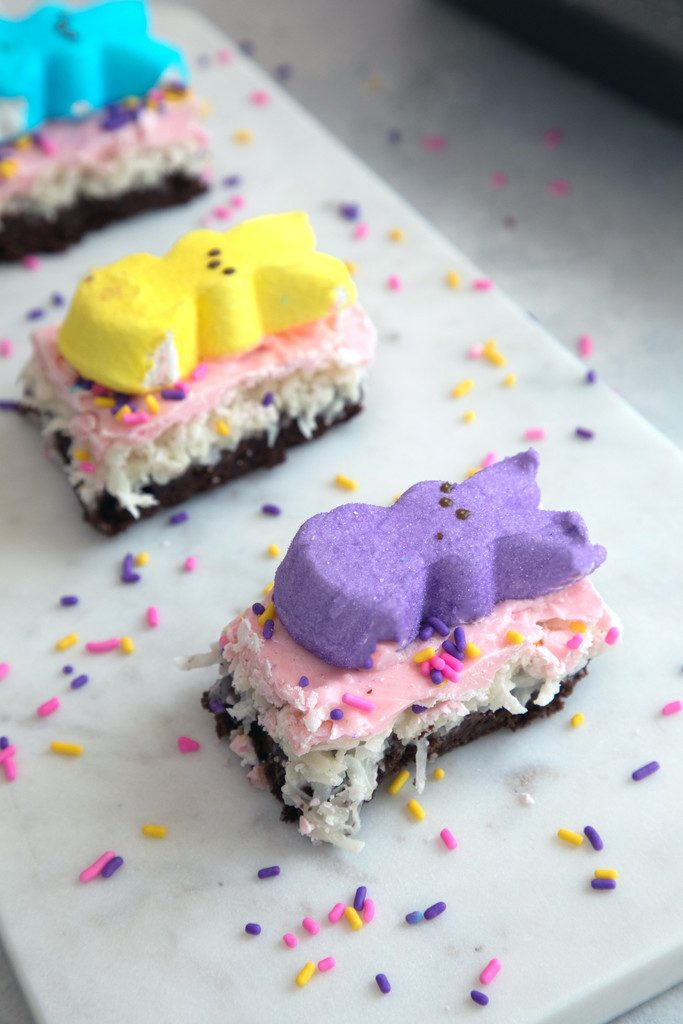 Chocolate Brownie Coconut Peeps Bars -- The perfect Easter or just plain spring celebrating treat! | wearenotmartha.com
