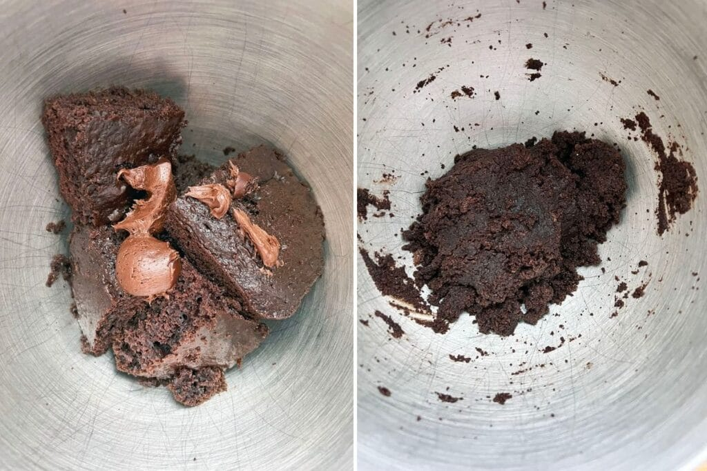One photo of chocolate cake and chocolate frosting in mixing bowl and another photo of cake and frosting all mixed together