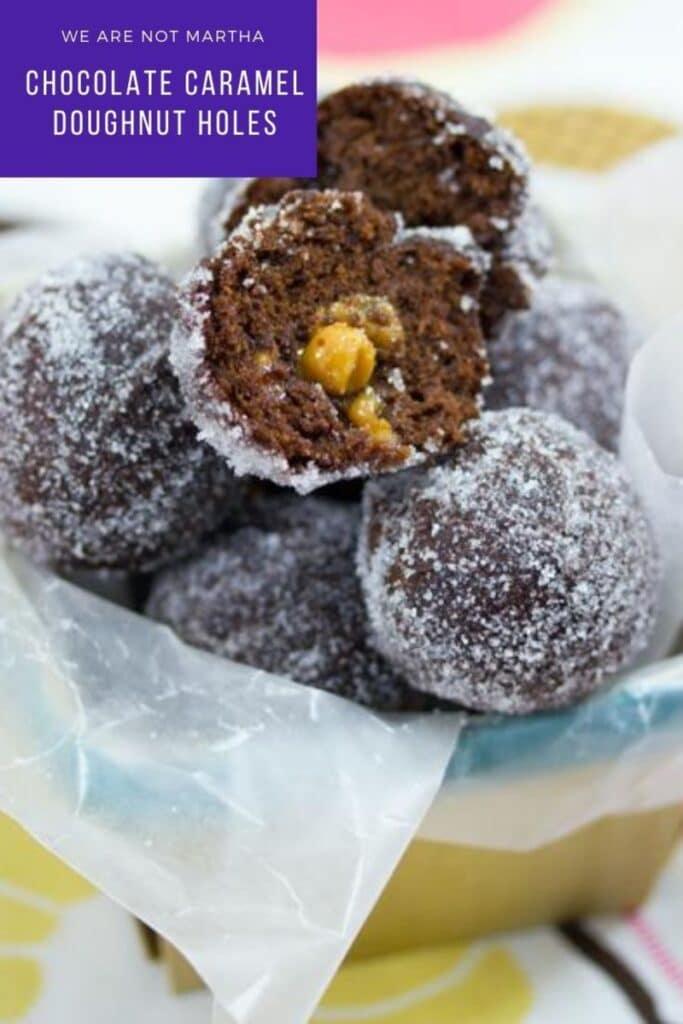These Chocolate Caramel Doughnut Holes are easy-to-make fried chocolate donut holes with a delicious caramel center!   wearenotmartha.com #donutholes #frieddonuts #carameldesserts #chocolaterecipes