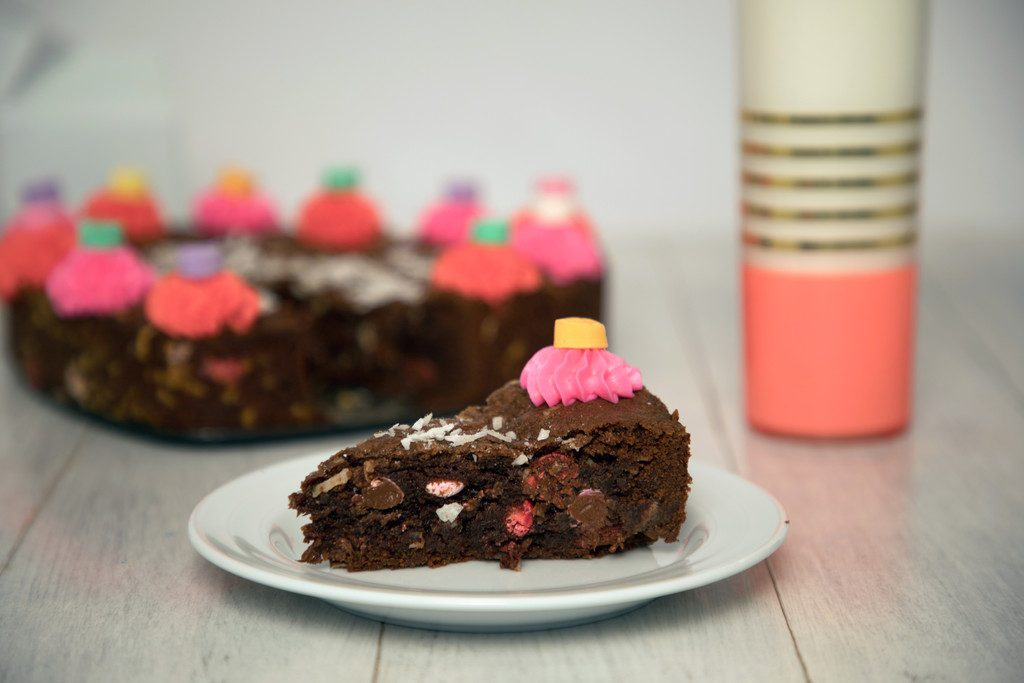 Chocolate Coconut M&M Cookie Cake is part cookie part cake and part brownie -- The perfect Valentine's Day dessert! | wearenotmartha.com