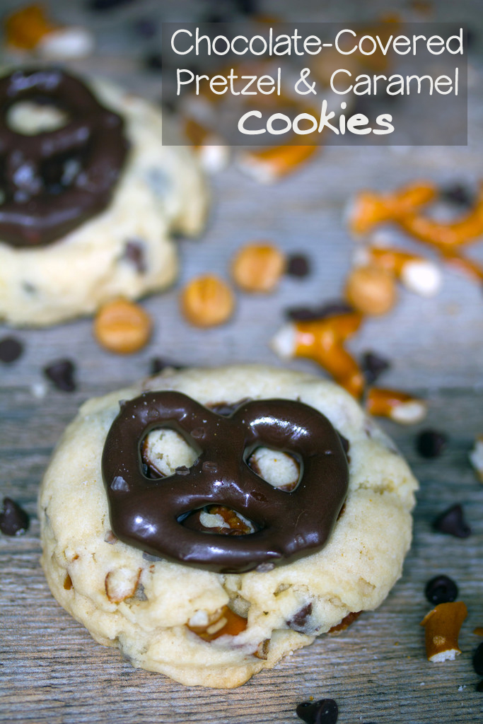 Chocolate-Covered Pretzel and Caramel Cookies