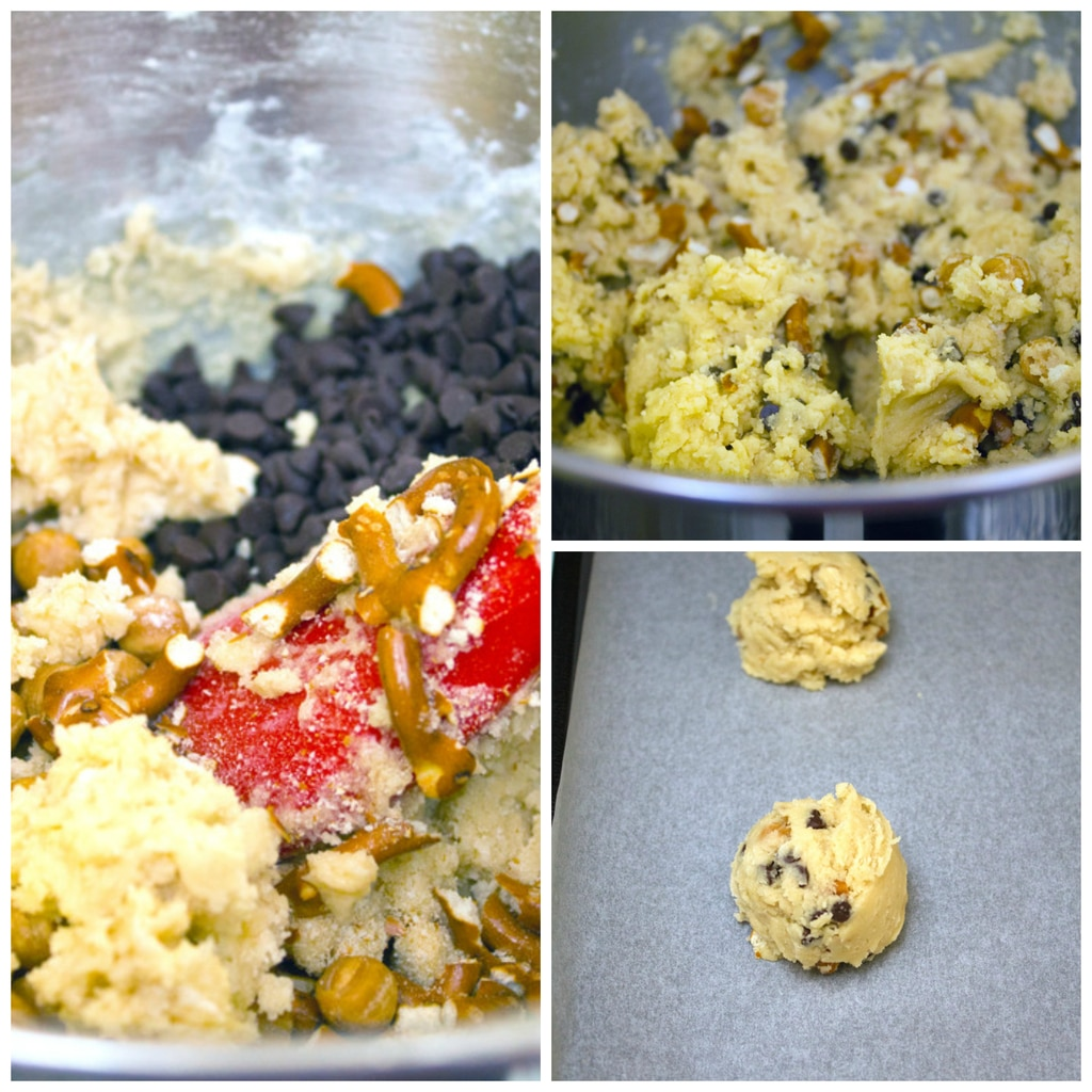 Collage showing cookie making process, including batter being combined and cookies formed on baking sheet