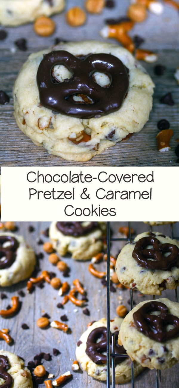 Chocolate-Covered Pretzel Cookies with Caramel -- Even if you're not the biggest pretzel fan (raises hand), you will absolutely love these cookies! Packed with chocolate, pretzels, and caramel bits, they're fully loaded | wearenotmartha.com #cookies #prezels #chocolate #caramel