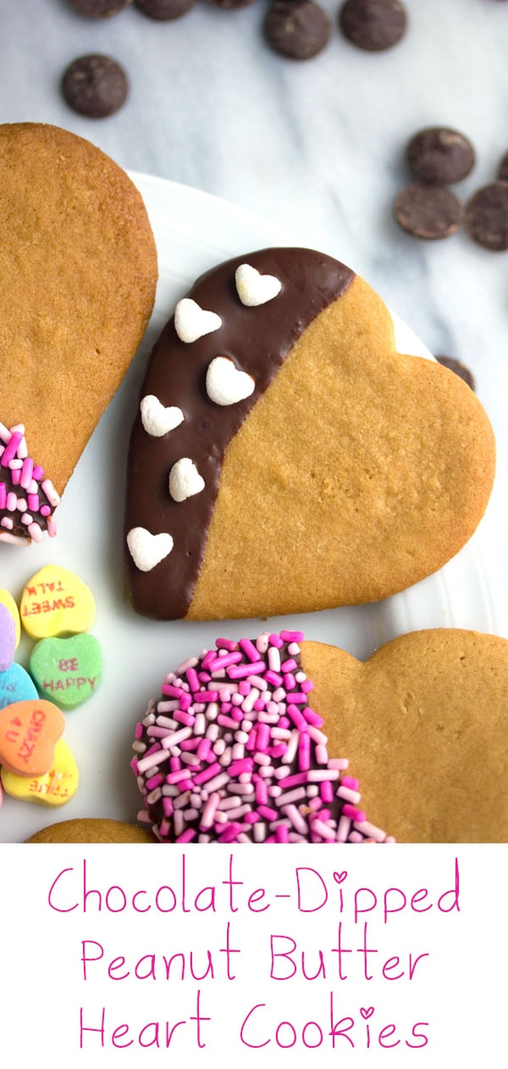 Chocolate-Dipped Peanut Butter Heart Cookies