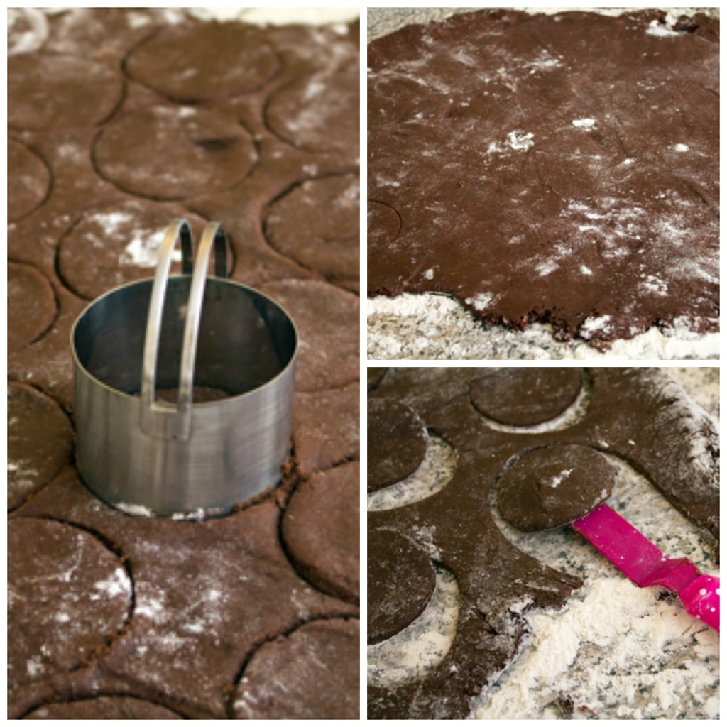 Collage showing process of rolling out chocolate doughnut dough and cutting dough rounds