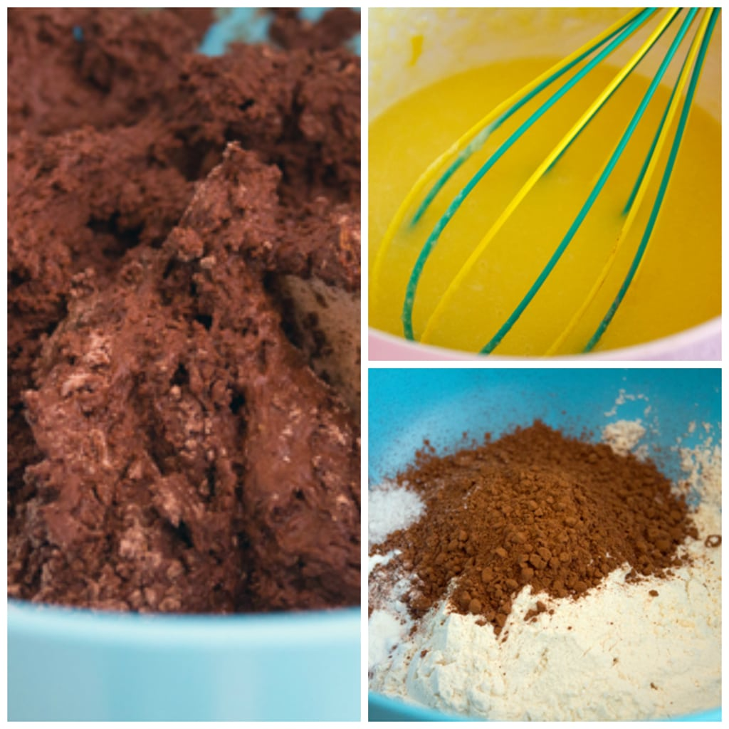 Collage showing the process of making the chocolate doughnut dough, including combining eggs and sugar, flour and cocoa powder, and combining them together