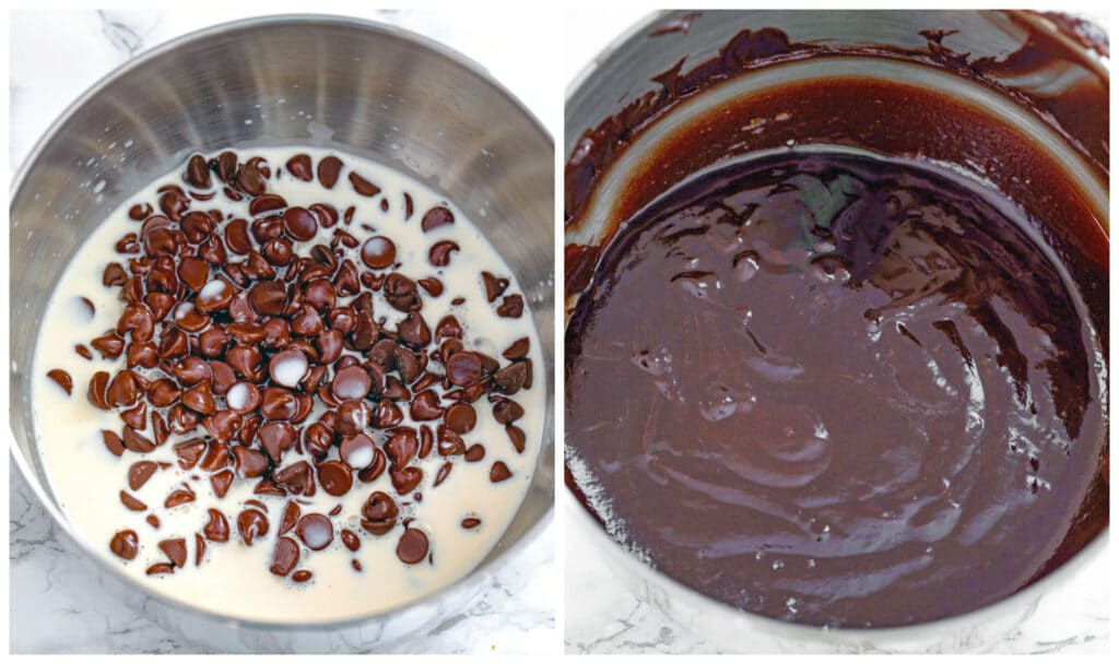 One photo with chocolate chips in bowl with hold cream poured over and another photo with chocolate ganache stirred smooth in bowl