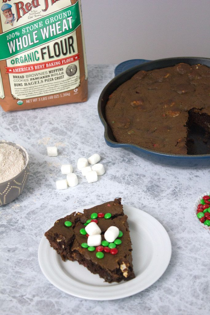 Chocolate Marshmallow Holiday Skillet Cookie -- You can't go wrong with one giant cookie | wearenotmartha.com