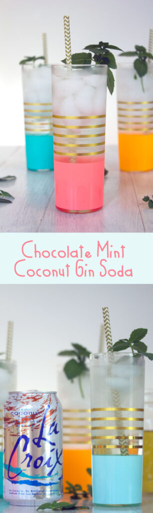 Chocolate Mint Coconut Gin Soda -- Made with fresh chocolate mint simple syrup and coconut seltzer | wearenotmartha.cm