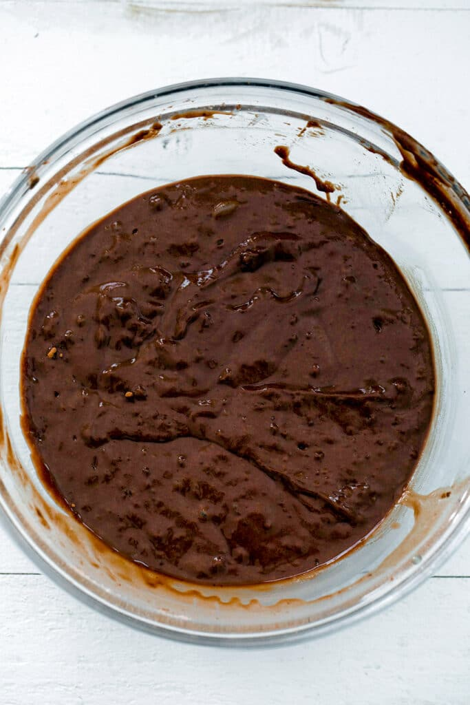 Chocolate batter in bowl