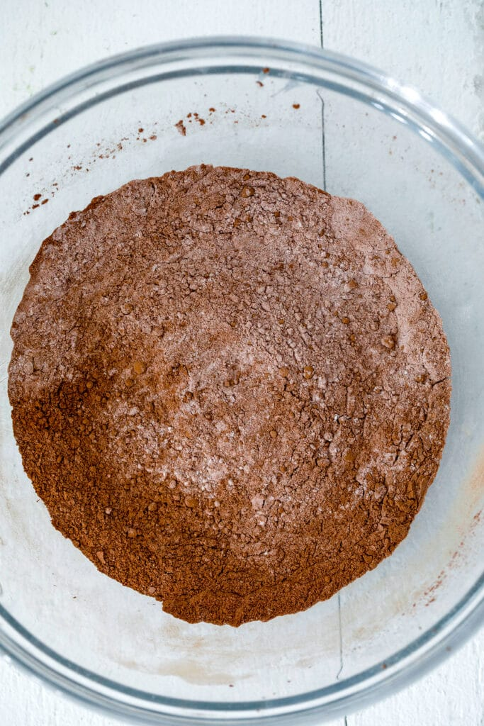 Cocoa, flour, and other dry ingredients in bowl