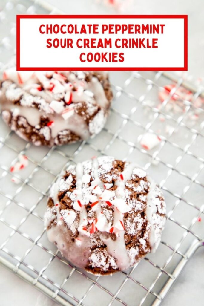 If you're looking for a new cookie to add to your holiday cookie platter, try these Chocolate Peppermint Sour Cream Crinkle Cookies! | wearenotmartha.com #crinklecookies #chocolatecookies #christmascookies #sourcream #candycanes