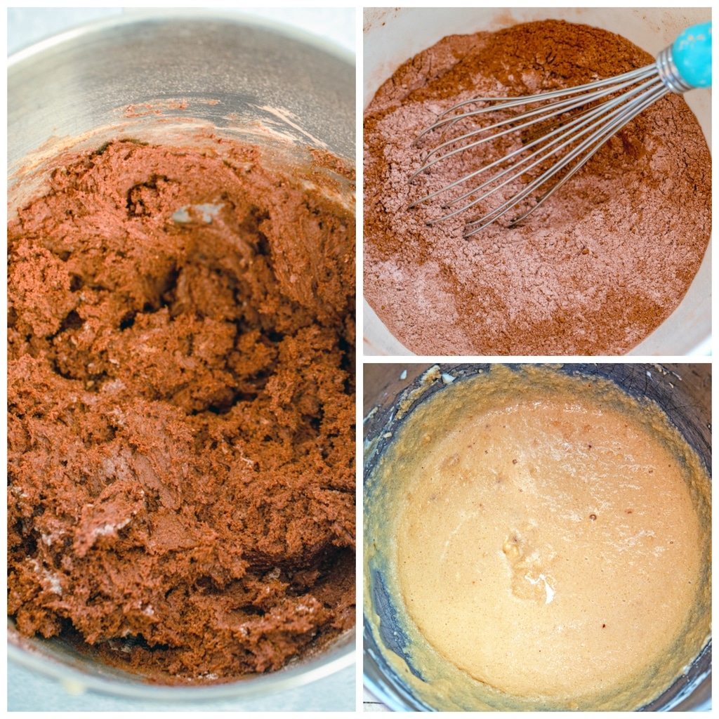 Collage showing process for making chocolate peppermint sour cream crinkle cookies batter, including dry ingredients being whisked together, wet ingredients in a bowl, and chocolate batter all combined in mixing bowl