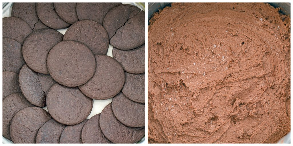 Collage showing process for assembling chocolate ricotta cake, including layering chocolate wafer cookies in springform pan and chocolate ricotta filling layered on top