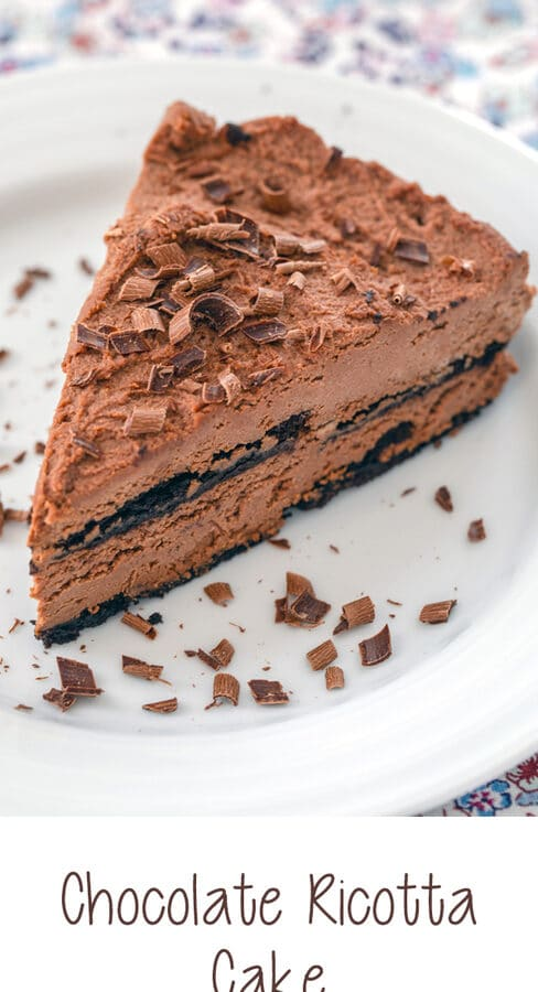Chocolate Ricotta Cake -- This Chocolate Ricotta Cake is a no-bake dessert that can be prepared up to two days in advance. It's incredibly rich and creamy and will delight any chocolate fan! | wearenotmartha.com