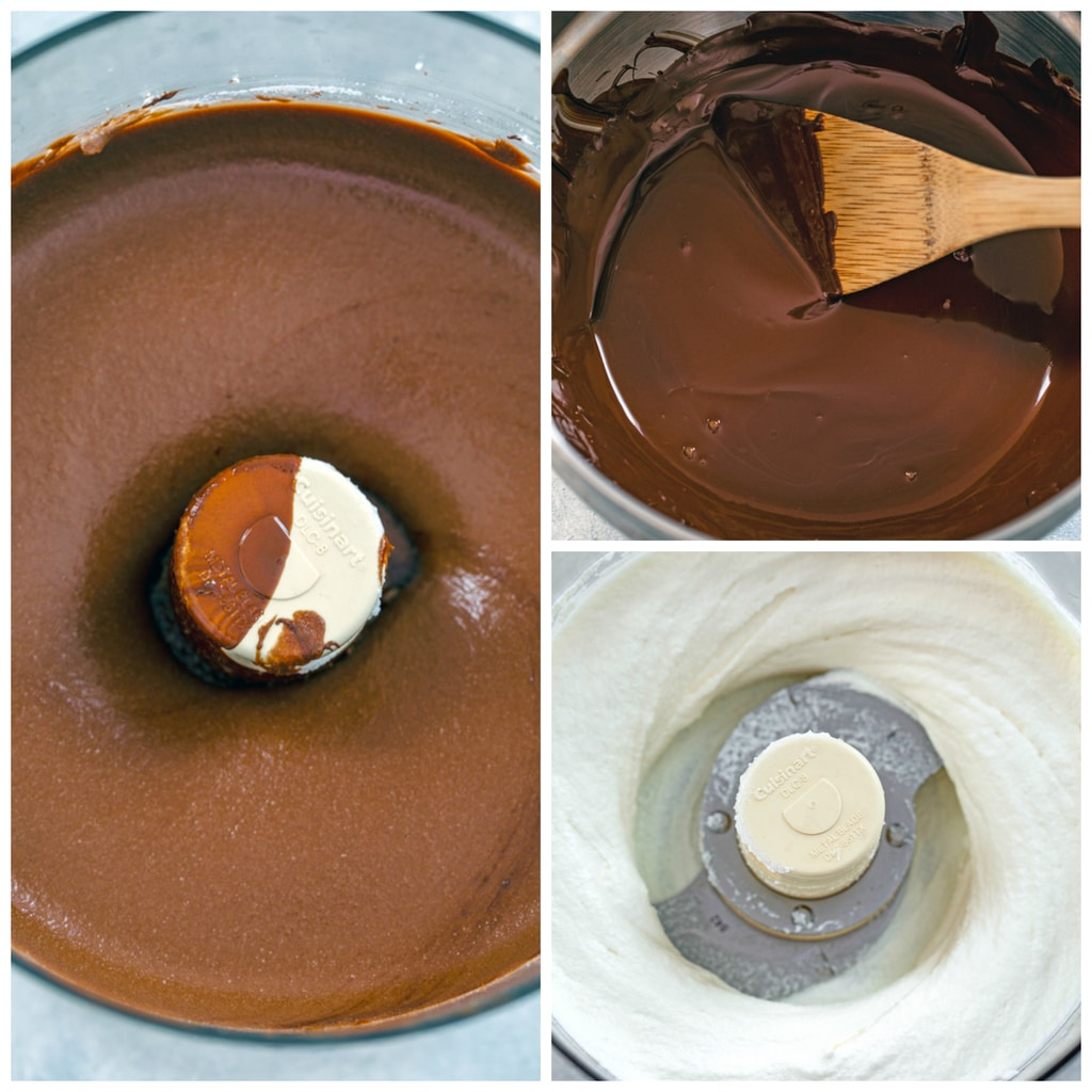 Collage showing process for making chocolate ricotta cake filling, including dark chocolate melted in double boiler, ricotta whipped in food processor, and ricotta and melted chocolate mixed together