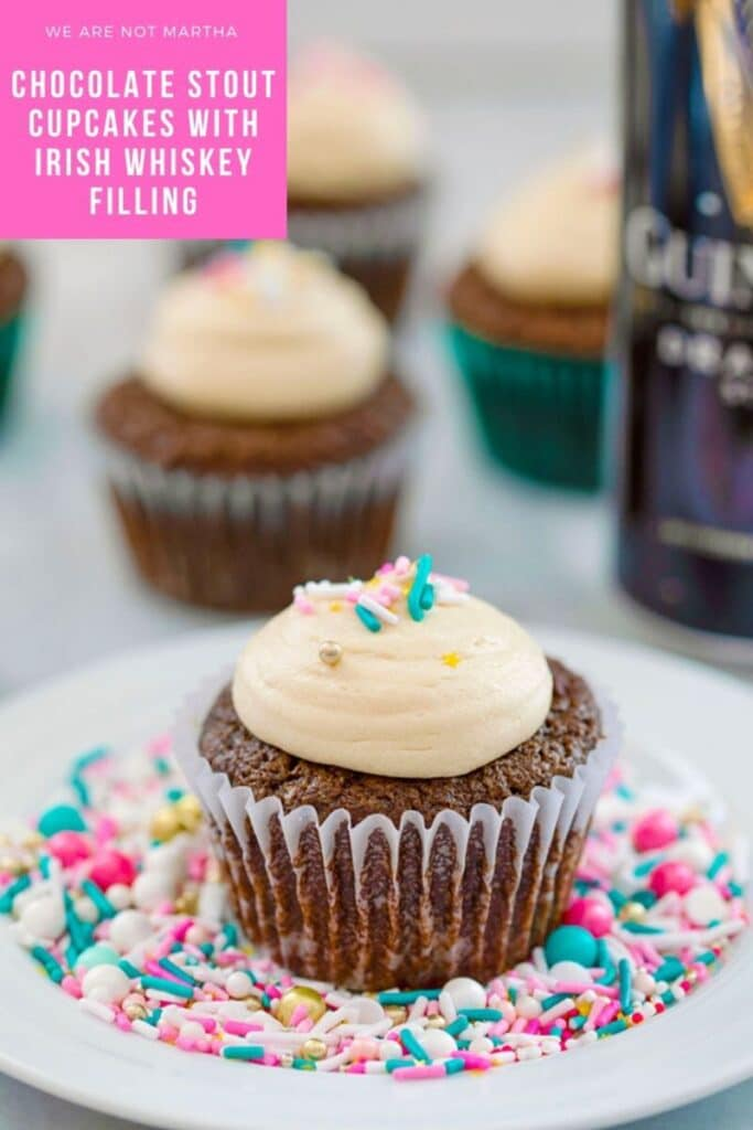 Chocolate Stout Cupcakes with Irish Whiskey Filling and Baileys Frosting -- You don't have to be Irish and it doesn't have to be St. Patrick's Day for you to fall in love with these Chocolate Stout Cupcakes with Irish Whiskey Filling and Baileys Frosting! | wearenotmartha.com #cupcakes #chocolatestout #guinness #whiskey #baileys #stpatricksday