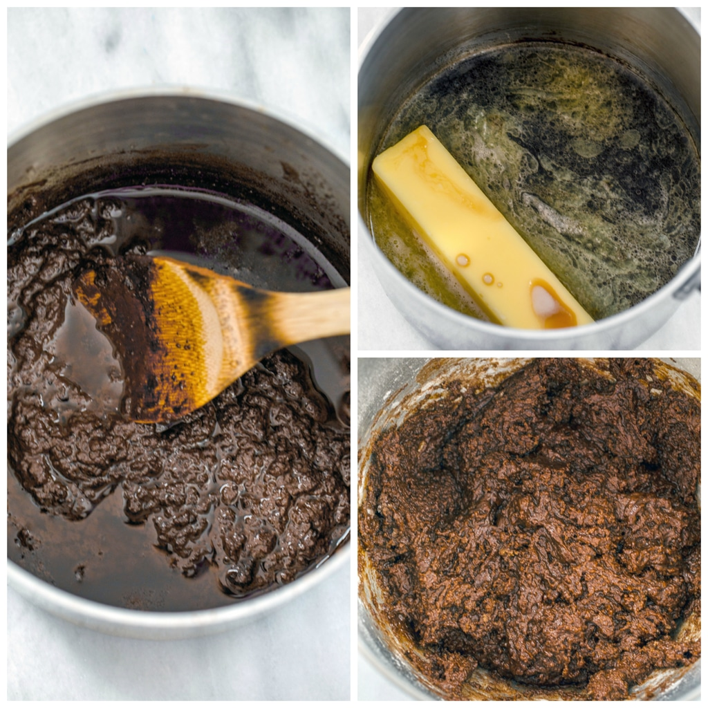 Collage showing process for making chocolate stout cupcakes batter, including Guinness and butter being melted together, Guinness and butter mixed with cocoa powder, and chocolate stout batter in mixing bowl