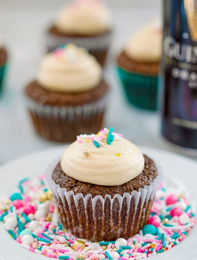 Chocolate Stout Cupcakes with Irish Whiskey Filling and Baileys Frosting -- You don't have to be Irish and it doesn't have to be St. Patrick's Day for you to fall in love with these Chocolate Stout Cupcakes with Irish Whiskey Filling and Baileys Frosting!   wearenotmartha.com