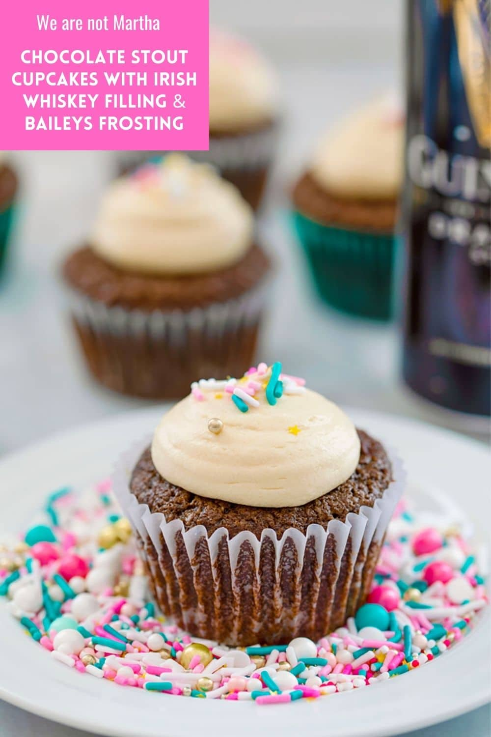 Chocolate Stout Cupcakes with Irish Whiskey Filling and Baileys Frosting