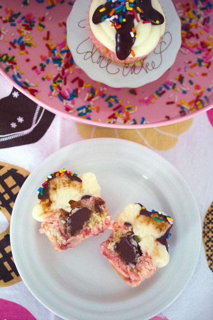 Chocolate, Vanilla, and Strawberry Cupcakes -- Classic ice cream flavors in cupcake form | wearenotmartha.com