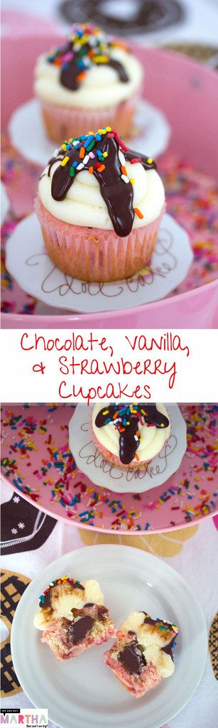 Chocolate, Vanilla, and Strawberry Cupcakes -- Classic ice cream flavors in cupcake form | wearenotmartha.com