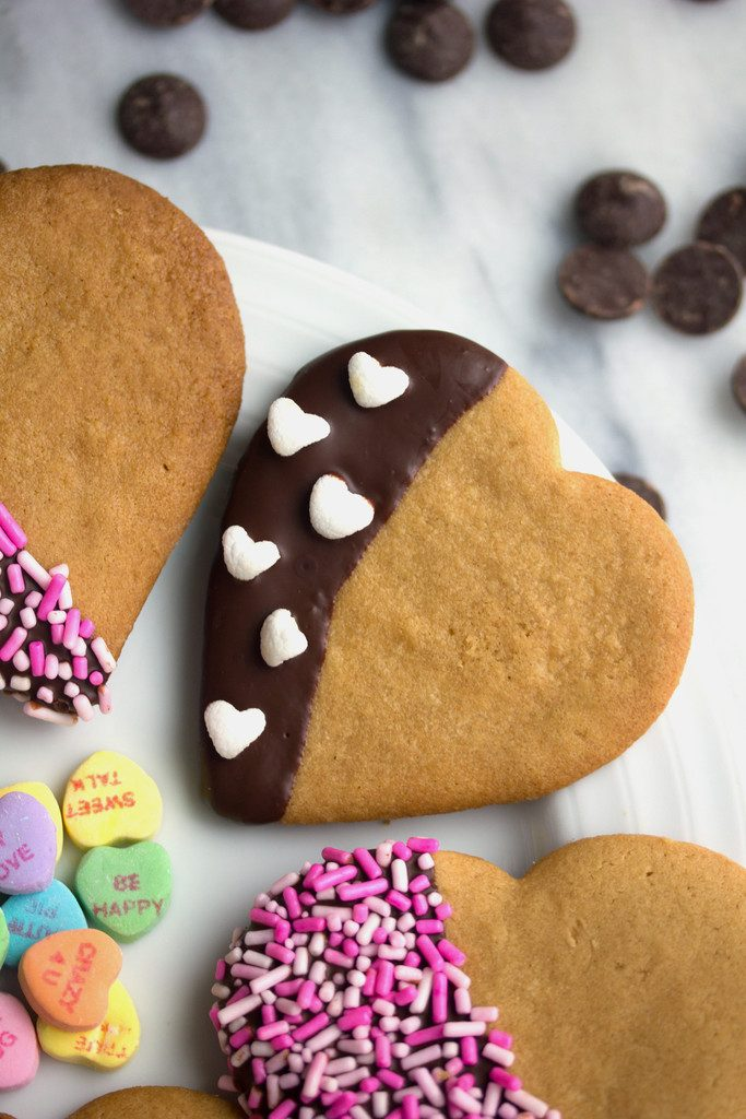 Chocolate Dipped Peanut Butter Heart Cookies -- Bake up some Valentine's Day love! | wearenotmartha.com