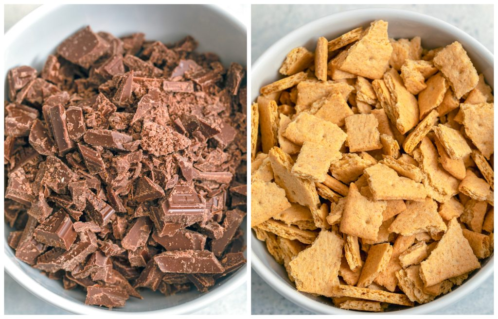 Overhead view of chopped chocolate in bowl and chopped graham crackers in bowl