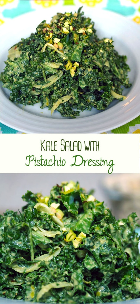 Chopped Kale Salad with Pistachio Dressing -- This is officially the best kale salad ever. An incredibly easy-to-make side dish or appetizer, this kale salad will drive any kale lover crazy and will turn any anti-kale-er into a full-on kale fanatic | wearenotmartha.com #kale #salad #pistachios #healthy #kale salad