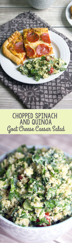 Chopped Spinach and Quinoa Goat Cheese Caesar Salad -- The perfect pizza accompaniment | wearenotmartha.com