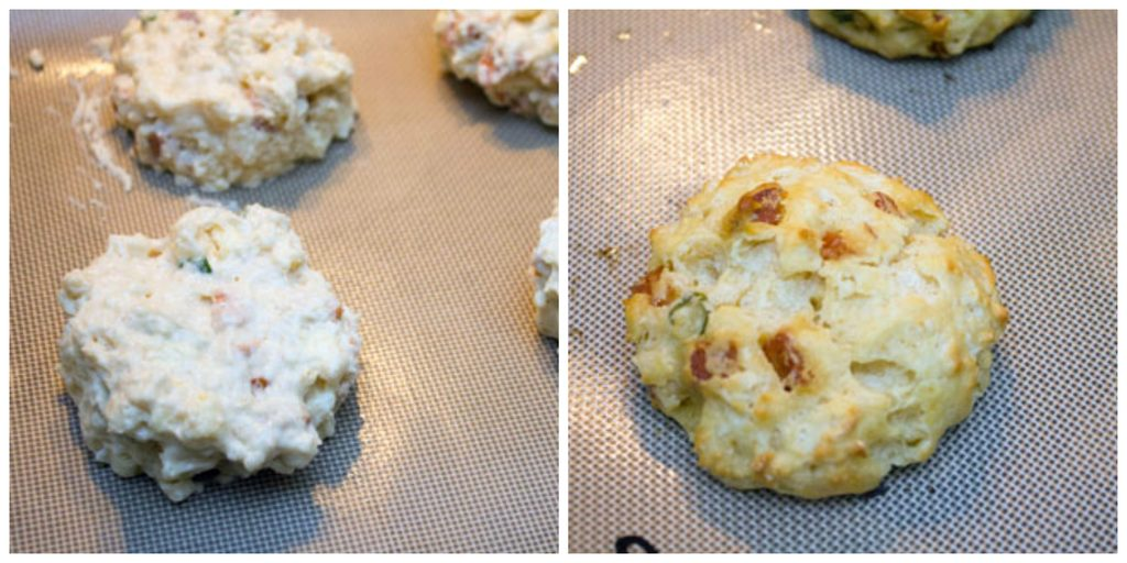 Collage showing process for baking chorizo biscuits, including biscuit batter scooped out on baking sheet and biscuit baked on baking sheet