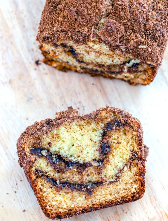 Cinnamon Loaf -- This Cinnamon Loaf is a deliciously sweet cinnamon swirl cake made in a loaf pan. Whether you eat it for breakfast, snack, or dessert, I highly recommend eating it warm with a little butter | wearenotmartha.com