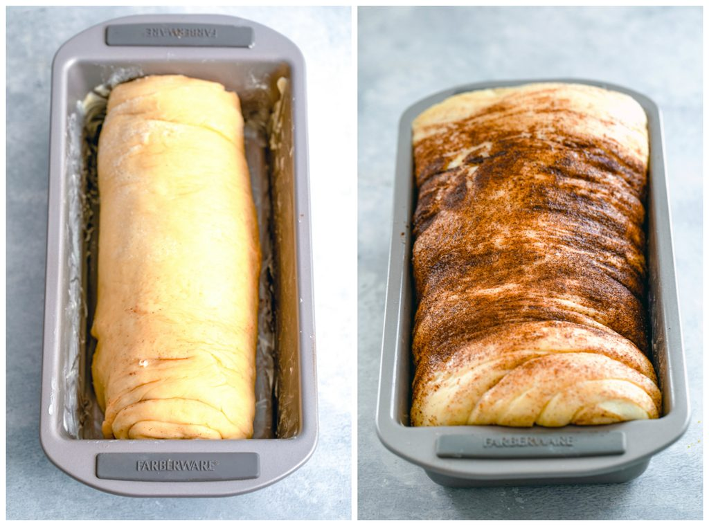 Collage showing cinnamon raisin bread rolled up and resting in loaf pan and cinnamon raisin bread in loaf pan after rising for a couple hours and brushed with cinnamon on top