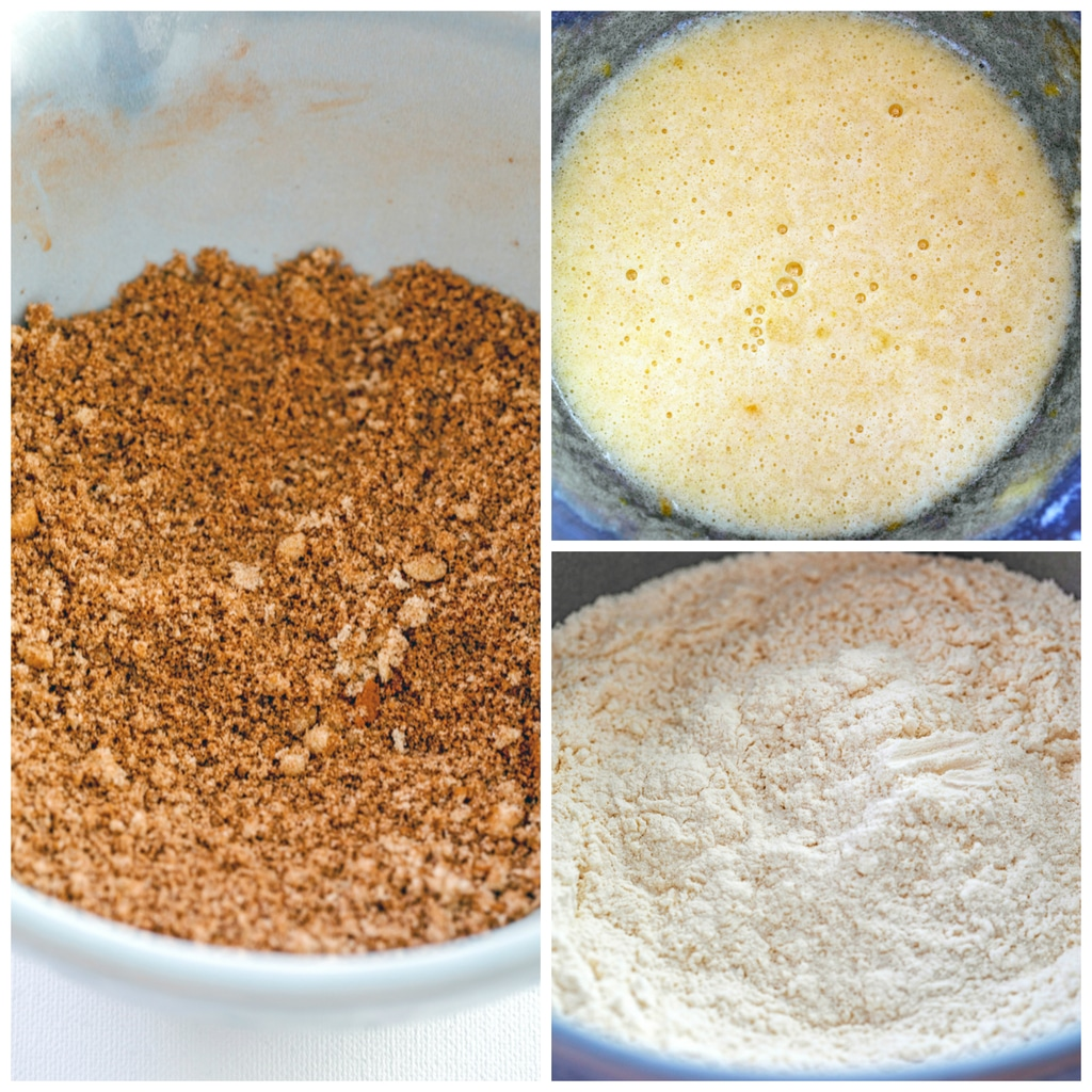 Collage showing process for making cinnamon loaf cake including cinnamon and brown sugar streusel in a bowl, batter mixed together, and flour mixture for batter in bowl
