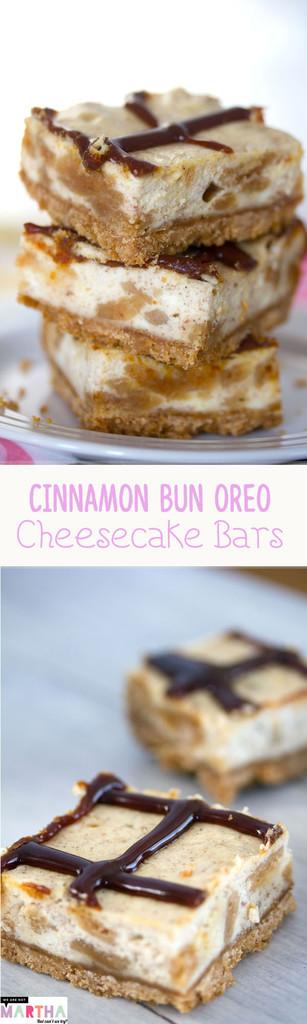 Cinnamon Bun Oreo Cheesecake Bars -- These Cheesecake Bars use Cinnamon Bun Oreo Cookies in the cookie crust and and the cheesecake filling | wearenotmartha.com