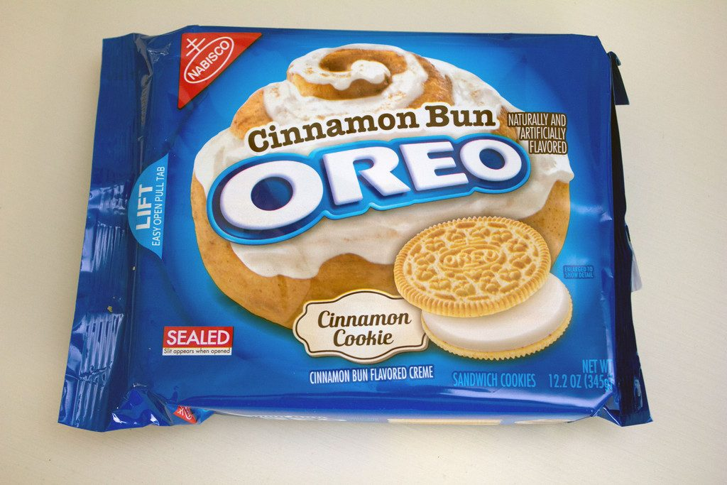 Cinnamon Bun Oreo Cookies package -- Special edition Oreos