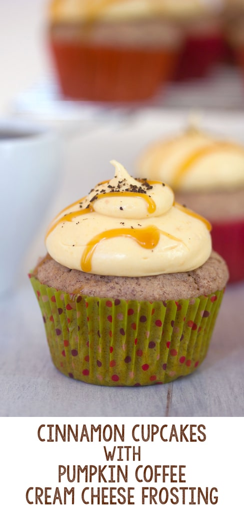 Cinnamon Cupcakes with Pumpkin Coffee Cream Cheese Frosting
