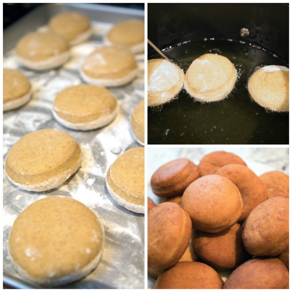 Collage showing process for making cinnamon doughnuts, including doughnuts rising on baking sheet, doughnuts frying in oil, and doughnuts cooling after being fried.