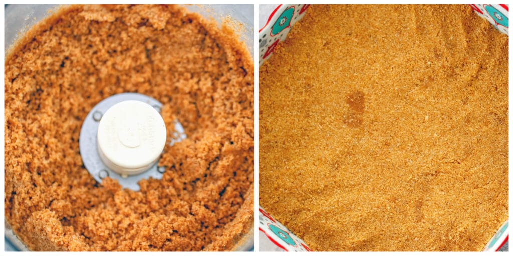 College showing process for making cinnamon graham cracker crust, including crushed graham crackers in food processor and graham cracker mixture pressed into the bottom of baking dish