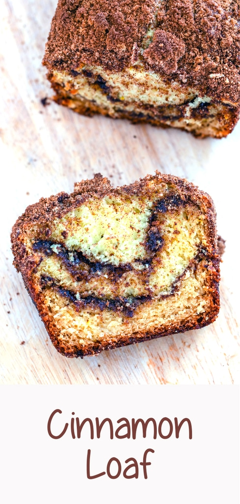 Cinnamon Loaf -- This Cinnamon Loaf is a deliciously sweet cinnamon swirl cake made in a loaf pan. Whether you eat it for breakfast, snack, or dessert, I highly recommend eating it warm with a little butter | wearenotmartha.com #cinnamon #coffeecake #cinnamonbread