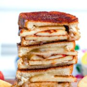Cinnamon Sugar Brie and Apple Grilled Cheese -- For the ultimate simple fall comfort food, make this Cinnamon Sugar Brie and Apple Grilled Cheese. With layers of melty brie and apples sandwiched between toasty cinnamon sugar bread, this is the kind of comfort food you crave in the fall | wearenotmartha.com #grilledcheese #cinnamonsugar #brie #brieandapples #fallrecipes