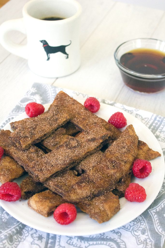 Cinnamon Sugar Naan French Toast Sticks -- French toast made with naan will blow your mind | wearenotmartha.com