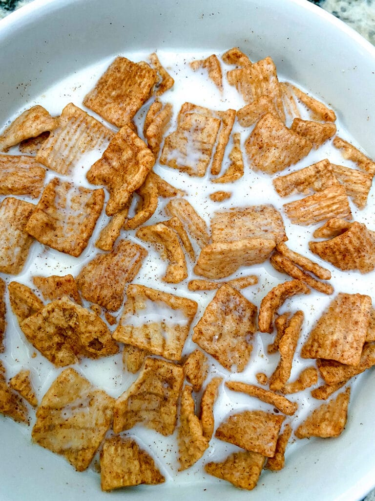 Bowl of Cinnamon Toast Crunch cereal in a bowl with milk