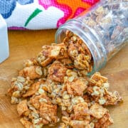 Cinnamon Toast Crunch Granola -- Is it possible to make Cinnamon Toast Crunch cereal even better? Yes! Turn it into granola! This Cinnamon Toast Crunch Granola is packed with sweet cinnamon flavor and lots of healthy oats and nuts | wearenotmartha.com #cinnamontoastcrunch #granolarecipe #cerealrecipes #breakfast