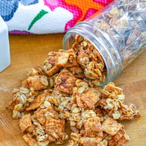 Cinnamon Toast Crunch Granola -- Is it possible to make Cinnamon Toast Crunch cereal even better? Yes! Turn it into granola! This Cinnamon Toast Crunch Granola is packed with sweet cinnamon flavor and lots of healthy oats and nuts   wearenotmartha.com #cinnamontoastcrunch #granolarecipe #cerealrecipes #breakfast