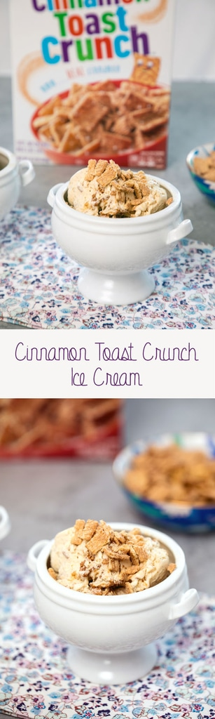 Cinnamon Toast Crunch Ice Cream -- Everyone loves a bowl of Cinnamon Toast Crunch, but even better? A bowl of Cinnamon Toast Crunch Ice Cream! This easy-to-make recipe has all the elements of your favorite breakfast cereal including the crunch | wearenotmartha.com