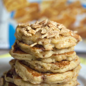 Cinnamon Toast Crunch Pancakes -- because breakfast is always better with pancakes, but who could ever turn down Cinnamon Toast Crunch cereal? | wearenotmartha.com
